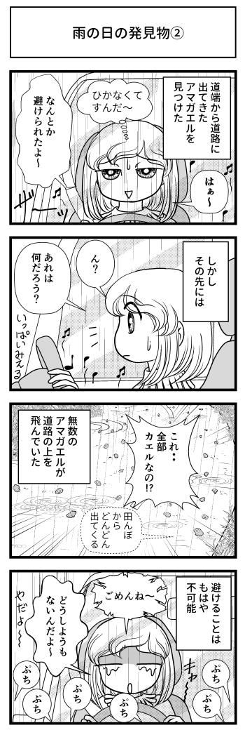 アマカエル カエル 雨の日 雨 道 道路 車 マンガ ブログ とさくら Tosakura 高知 四国
